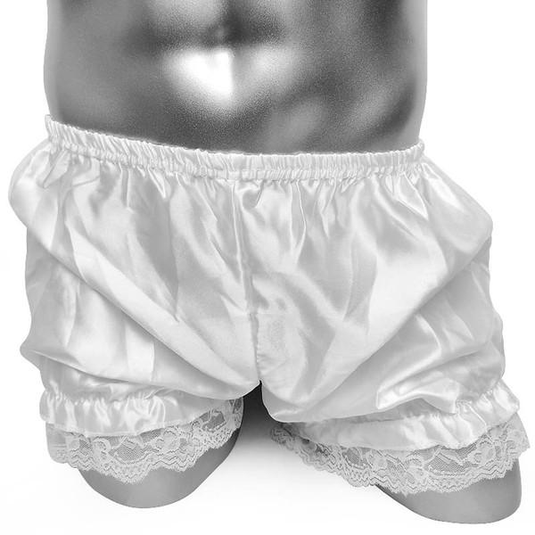 Fashion Men Shiny Satin Bloomers Sexy Lace Ruffles Men Lace Panties Gay Sissy Boxer Men's Underwear Shorts Boxer Underpants