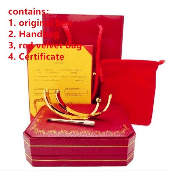316L titane acier bracelets d'amour argent rose or amour bracelets femmes hommes vis tournevis Bracelet Couple bijoux avec boîte d'origine set