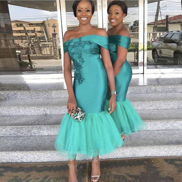 Teal Off Shoulder Long Bridesmaid Dresses Short Sleeves Prom Gowns With Lace Applique Tiered Ruffle Custom Made Ankle-Length Event Dresses
