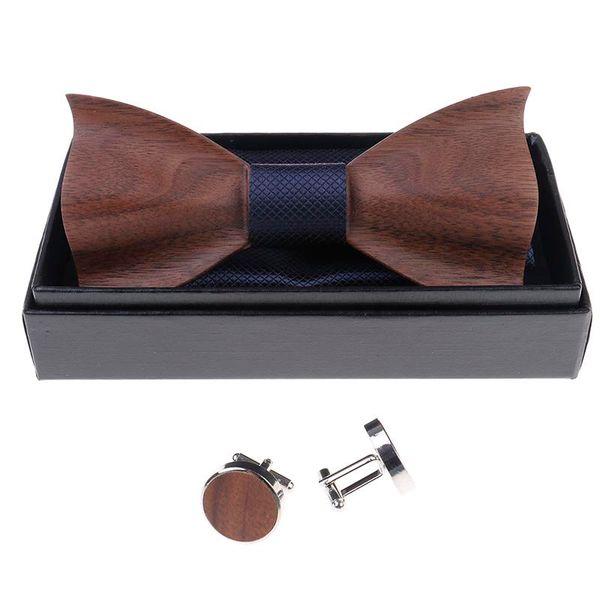 1set Wooden Tie Pocket Square Cufflink Wood Bow Tie Men Accessories Wedding Fashion Wooden Bow Ties Set