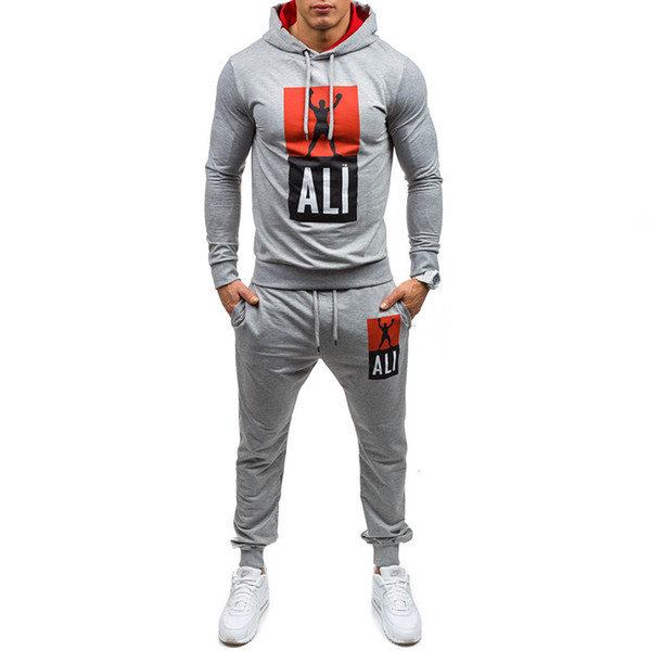 Men's Outdoor Tracksuits Running Fitness Casual Sweatshirts Pure Color Pullover Tops with Trousers Leisure
