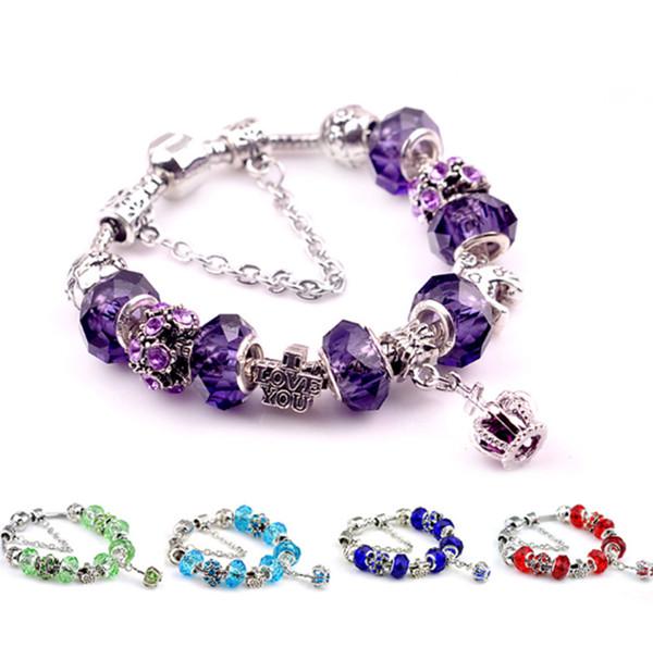2019 European and American fashion exquisite ladies purple couple crystal bracelet retro new jewelry DIY beaded bracelet