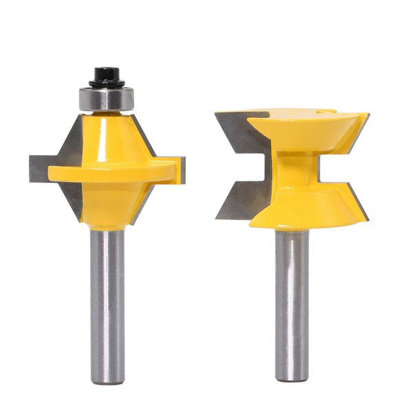 one set of two pcs 120 degree Woodworking milling Cutter Tool 8mm Shank Lock Router Bit tongue-and-groove tooling graver