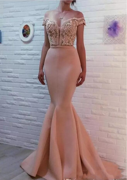 2020 Sexy Blush Pink Mermaid Evening Dresses Off Shoulder Lace Appliques Crystal Beaded Open Back Formal Party Dress Celebrity Prom Gowns