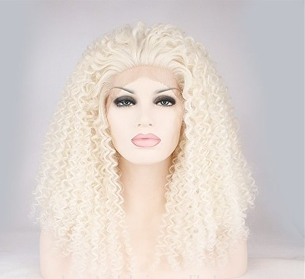 Factory price on sale glueless 100% unprocessed virgin human hair long #613 kinky curly full lace wig for women