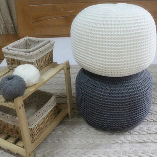 New Style Knitted Woolen Round Cushion Decorative Pillow Round Shape Handmade Knitted Cushion Bed Sofa Home Decoration