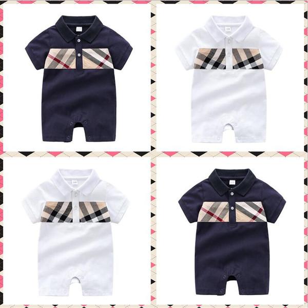 Heißer Sommer Designer label Baby Mädchen Strampler Baby Jungen Overall Kurzarm Baumwolle Infant Kleidung Kinder Strampler Neugeborenes Baby