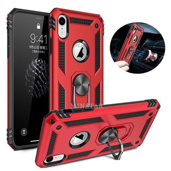 Funda protectora de anillo magnético híbrido Flip para iPhone 6 X Xs Máx. XR 8 Plus S10 5G S10e J3 J337 J7 J4 J6
