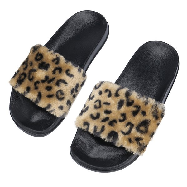 Soft Soles Home Bathroom Slippers Beach Flip Womens Ladies Sliders Leopard Fluffy Faux Fur Flat Slipper Flip Flop slipper #89