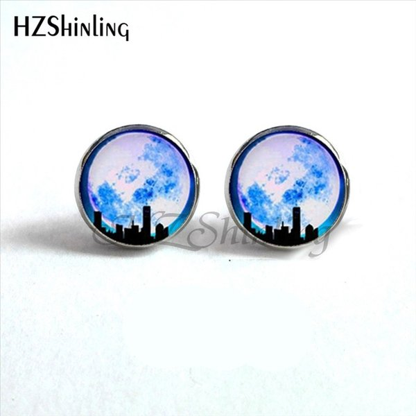 Full Moon Earrings Astronomy Space Post Ear Nail Jewelry Full Moon Ear Stud Glass Dome Earrings For Women HZ4 NES-0015
