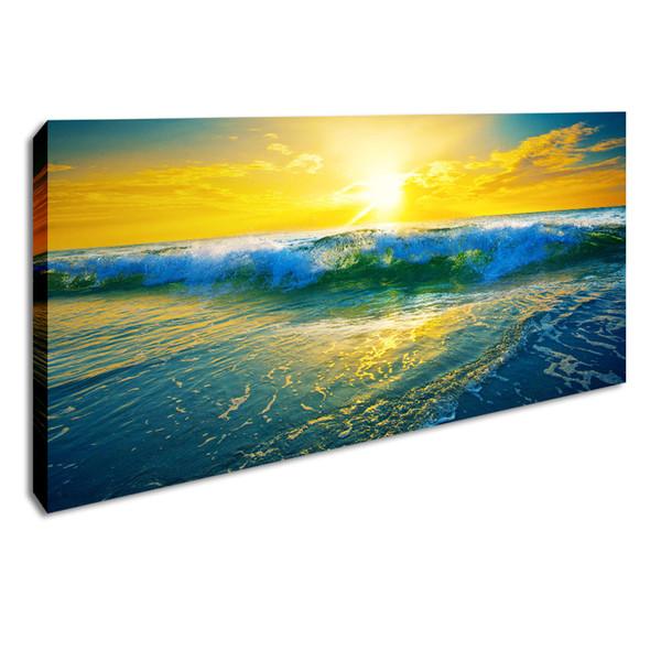 Sunrise Seascape Poster Wave Wall Art Paesaggio di grandi dimensioni Immagine HD Stampa su tela Paesaggio con cornice Pittura decorativa per soggiorno