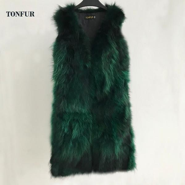 2019 V шеи Подлинная X Long Factory Outlet оптом и в розницу Real Raccoon Fur Vest с карманом и облицовкой 1м Gilet sr436