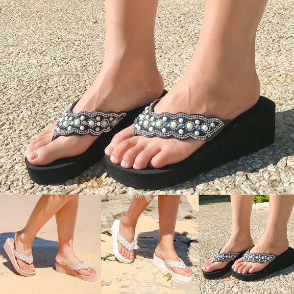 muqgew summer high heels slippers fashion sandal rhinestones wedges flip flops women's casual beach shoes plus size lady slipper
