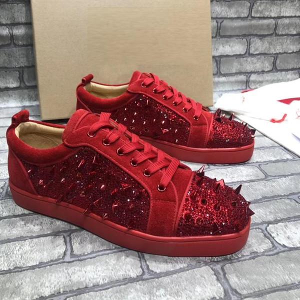 Yüksek Kalite Marka başak Kırmızı Alt Sneaker Erkek Womans Moda Tasarımcısı Düşük Üst kutu ile rive rhinestone holothurian Parti rahat Ayakkabı