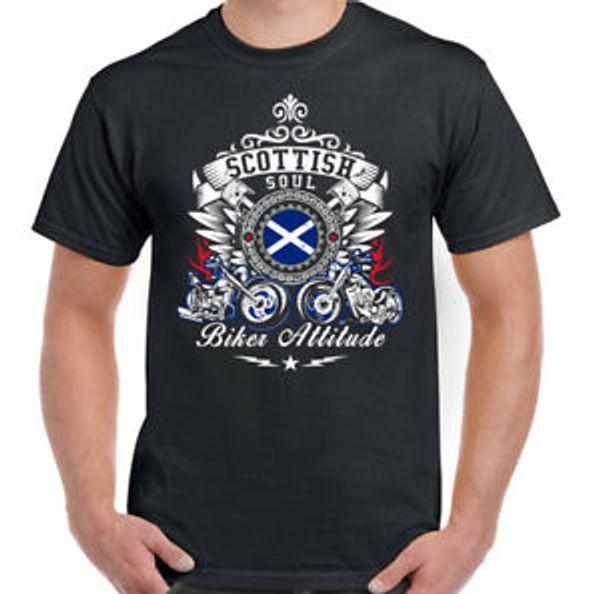 Scottish Soul Biker Attitude Hommes T-Shirt Moto Vélo Cafe Racer