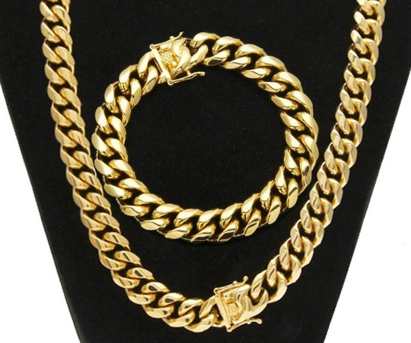 Hiphop Stainless Steel Jewelry Sets 18K Gold Plated Dragon Latch Clasp Cuban Link Necklace & Bracelets For Mens Curb Chain 1.4cm Wide