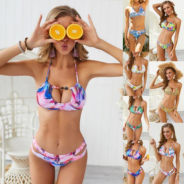 Roupas da moda Sexy Push Up Swimsuit Melhor Cintura Baixa Oco Out Bikini Swimwear Mulheres Bohemia Biquini Maiôs Maillot De Bain Femme