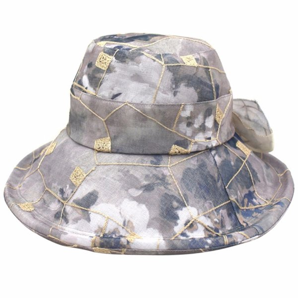 Sun Beach Hats For Women Wide Brim UV Protection Caps Flower Printed Foldable Summer Beach Cap Women Mesh Bowknot Fishing Hat