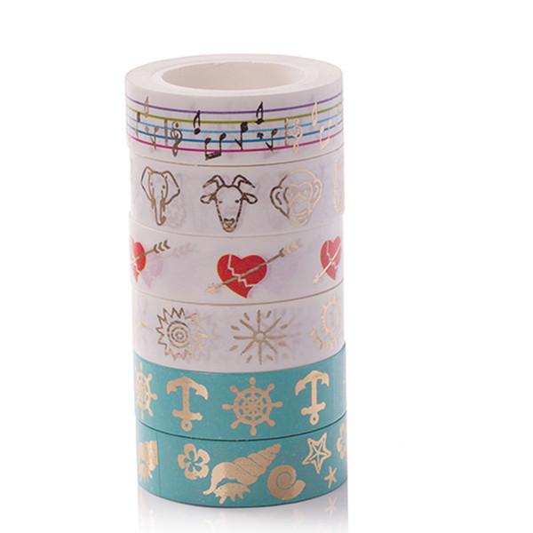 2016 Bronzing Washi Tape 15MM * 10M Scatola regalo fai da te Libro Adesivo decorativo Adesivi monofacciali Materiale scolastico