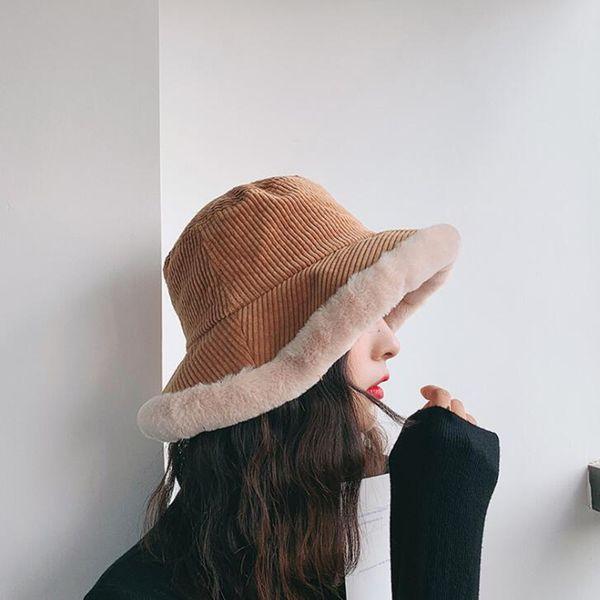 Winter Faux Cashmere Bucket Hat Women Faux Fur Caps Thicken Warmer Snow Hats Adjustable