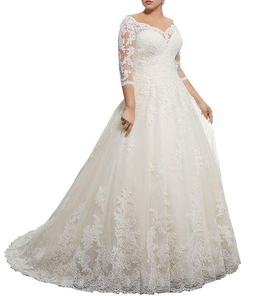 Impressionante Lace Plus Size Vestidos de Casamento de Inverno com 3/4 de Manga Longa V Neck Apliques Personalizados Árabe Vestido de Noiva Formal