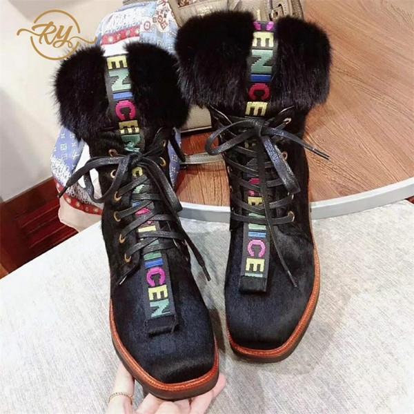 RY-RELAA chaussures femmes 2018 mode bottes d'hiver femmes ins style cuir véritable pour cheville bottes cheville plate-forme