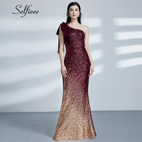 5954a6fc1b Burgundy Gold Sequin Dress 2019 New Fashion Sexy Little Mermaid One  Shoulder Long Formal Party Gowns