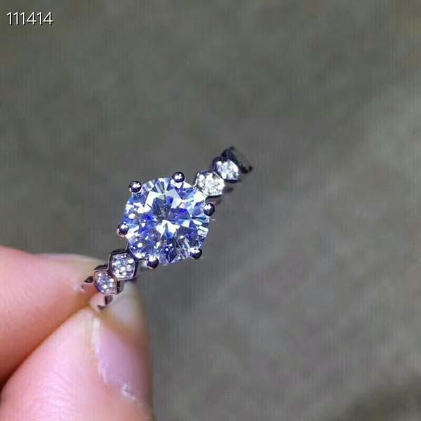 [MeiBaPJ Çok Pırıltılı Doğal Mozanit Taş Klasik Yüzük Kız için Gerçek 925 Ayar Gümüş Charm Güzel Düğün Takı