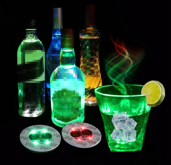 Led Bar Kupası Coaster Light Up Kupası Sticker için İçecekler Kupası Tutucu Işık Şarap Likör Şişesi Parti Düğün Dekorasyon Malzemeleri sahne 6cm FFA3396