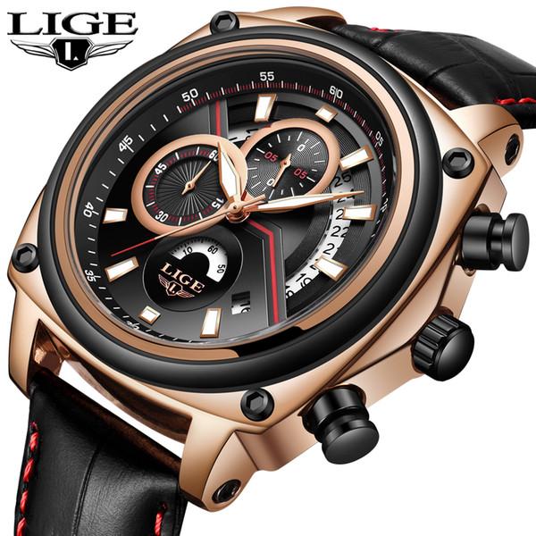 LIGE Herrenuhren Top Business Marke Luxusuhr Männer Chronograph Sport Leder Wasserdichte Männer Casual Uhr Relogio Masculino
