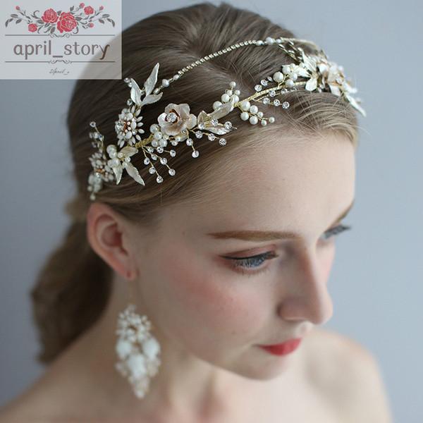 Bande céramique cheveux exquis boucles d'oreilles Accessoires de mariage bande mariée ruban Coiffe de mariée femmes Accessoires Bijoux de cheveux