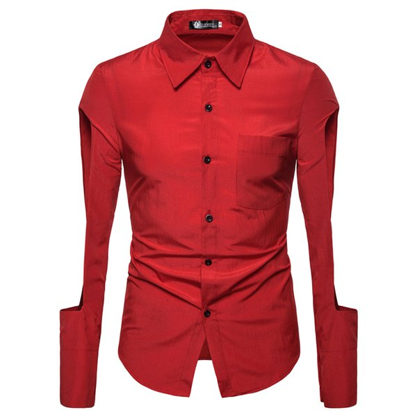 Mens Trend Night Club Wear Coated Shirts Party Long Sleeves Dress Shirts Men Tuxedo Shirt Chemise Homme