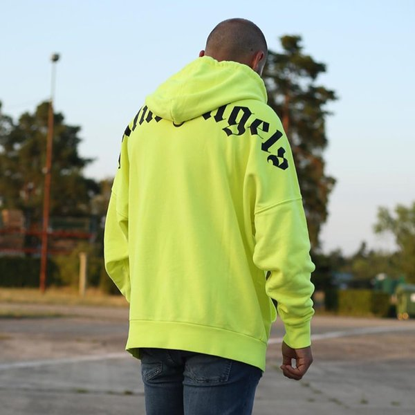 Fashion-19FW Palm Angels LOGO Sweat À Capuche Vert Noir Hommes Femmes Mode Casual Pull Rue Skateboard Hoodies HFLSWY314