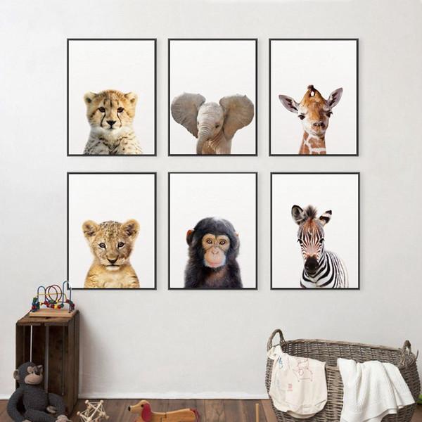 Leone Zebra Elefante Giraffe Baby Animals Stampa artistica poster, Animale da safari tela di canapa Pittura Kids Room Nursery Decor parete