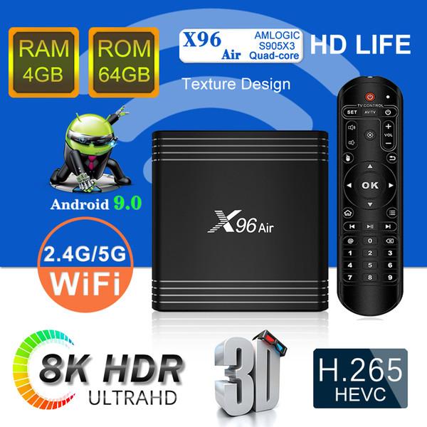 top popular New Arrvial X96 Air 2G16G 4G 32G 64G Android 9.0 TV Box Amlogic S905X3 8K TV Box Quad Core 2.4G 5GHz PK X96 H96 MAX 2020