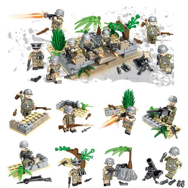 New Arrival 8pcs Lot World War II Military Mini Toy Figure Brick WW2 The Battle of Berlin German Army Building Block