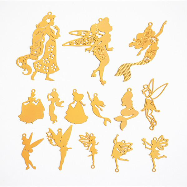 Mix 140pcs Diy gold metal Copper Computer Pieces mermaid princess flying fairy angel charms jewelry making Accessories Japanese Elves Seals