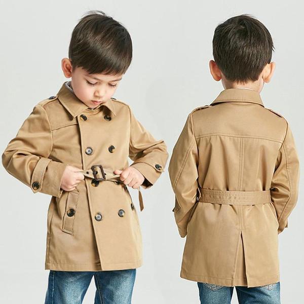 Baby-Weinlese Tench Mantel-Jungs-Mädchen Designerkleidung Windjacke britische zweireihige Windjacke Turn-down-Kragen-Knopf-Gurt für Kinder