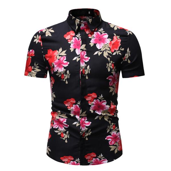 Beach Mode homme d'été Chemise hawaïenne Marque Slim Fit Pocket shirt manches courtes hawaïenne