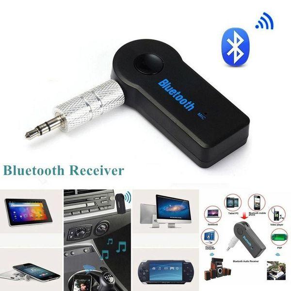Kit da auto Bluetooth universale da 3,5 mm A2DP Trasmettitore FM wireless AUX Adattatore audio per ricevitore musicale Vivavoce con microfono per telefono