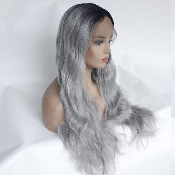 Оптовая 1b / серый кружева перед парики высокотемпературные волокна синтетические Glueless длинные волнистые свободная часть половина ручной связали замена полный парики