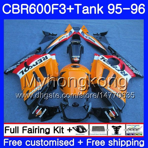 Bodys +Tank For HONDA CBR 600 F3 FS CBR600FS CBR600 F3 95 96 289HM.40 CBR600RR CBR600F3 95 96 CBR 600F3 1995 1996 Repsol orange hot Fairing