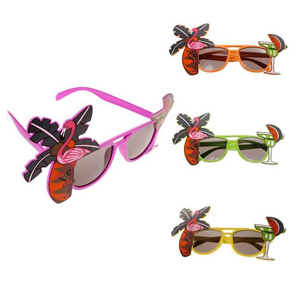 Flamingo Partido Óculos de abacaxi Havaiano Praia de Cerveja Óculos de Sol Cosplay Noite Palco Fancy Dress up Óculos Máscara Crianças óculos de sol C6798