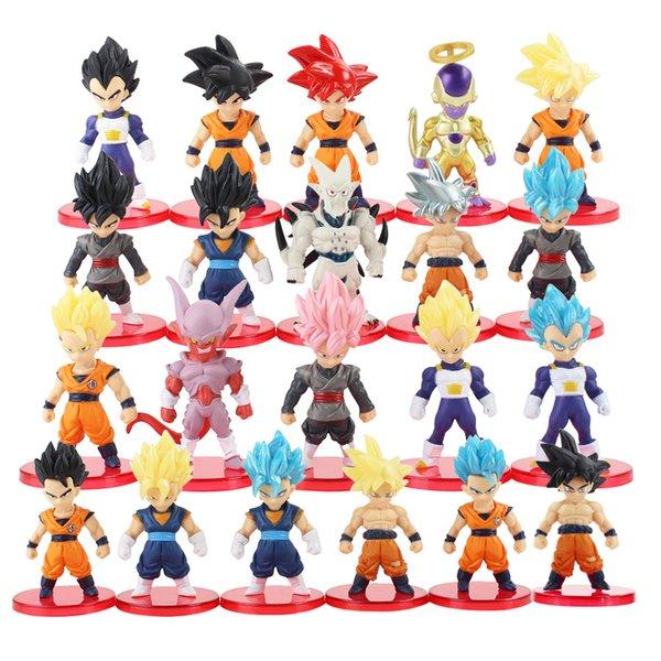 21pcs / lot Dragon Ball Super Saiyan Tanrı Eylem Şekil Son Goku Gohan Vegeta Vegetto Frieza Zamasu Ultra İçgüdü Model Oyuncaklar