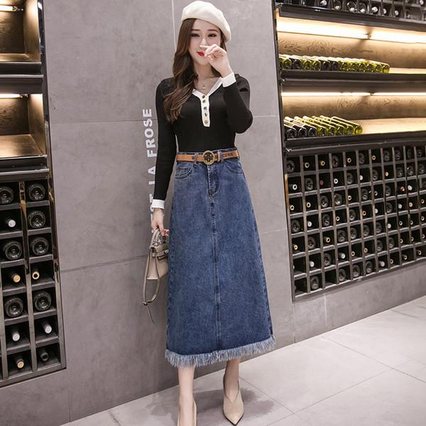 Faldas largas de verano Jeans Mujer Moda Borla Primavera Otoño Falda de cintura alta Split de mujer Faldas azules coreanas para damas
