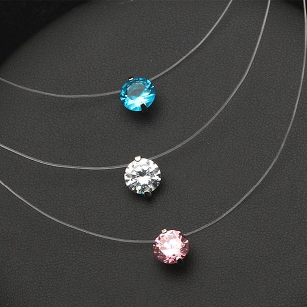 transparant invisible zircon choker necklace women bijoux white pink blue new fashion jewelry classic cute gift