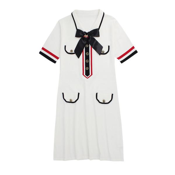 Ladies 'Saia Casual roupas G Prego Talão Cenário Abelha Frenulum Bow Tie Lapela Vestido