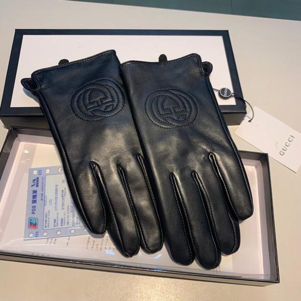 Leder Touch Screen Five Finger Thermal Baumwoll-Handschuhe Fashion Women Style Velvet Futter Warm Winter-Schaffell-Handschuhe