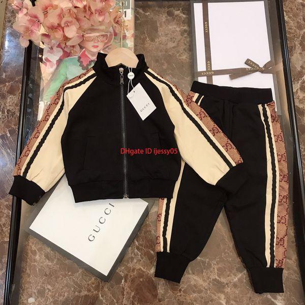 Autumn boy jacket sets kids designer clothing long sleeve cotton terry jacket + trousers 2pcs sleeve side color matching design sports sets