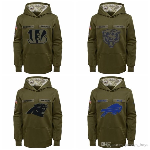 Kid Cleveland Cincinnati Browns Bengals Chicago Carolina Bears Panthers Youth Salute to Service Pullover Felpa con cappuccio Performance - Verde